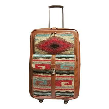 Amerileather Women's Luggage Turquoise - Brown Leather Rolling Carry-On