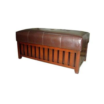 ORE International Modern Brown Accent Bench Leather