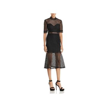 Bardot Womens Fiona Cocktail Dress Mesh Short Sleeves