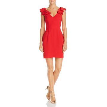 Amanda Uprichard Womens Gimlet Ruffled Mini Cocktail Dress