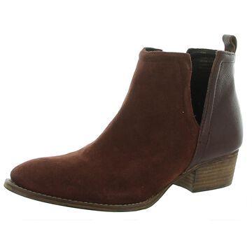 Diba True Womens Short Side Block Heel Boot Suede Pointed Toe - Castagno - 9 Medium (B,M)