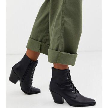 London Rebel wide fit heeled western boots-Black