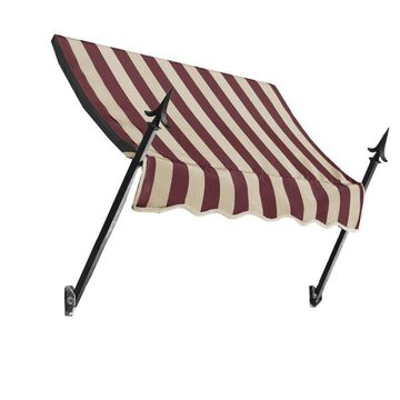 Awntech New Orleans 76.5-in Wide x 16-in Projection Burgundy/Tan Striped Striped Open Slope Window/Door Fixed Awning in Red