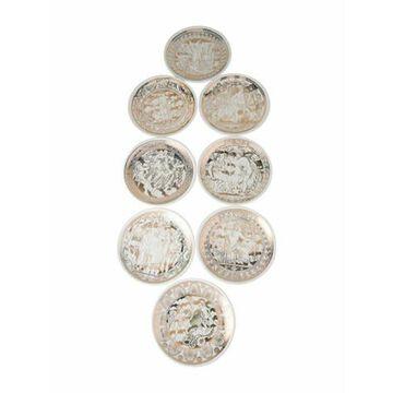 Set of 8 Mitologia Vintage Coasters white