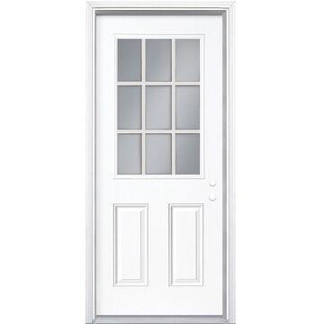 Masonite 32-in x 80-in Steel Half Lite Left-Hand Inswing Primed Prehung Single Front Door with Brickmould in White   740757