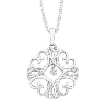 Boston Bay Diamonds Brilliance In Motion Diamond Accent Filigree Heart Pendant