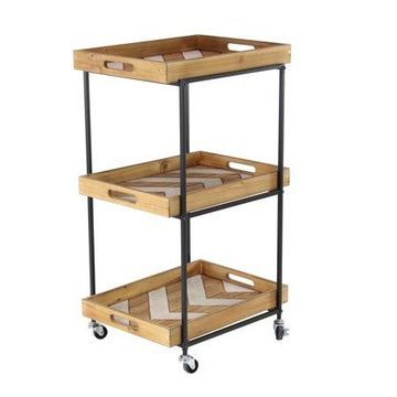 Decmode Traditional 3-Tiered Chevron Iron and Wood Utility Cart, Brown