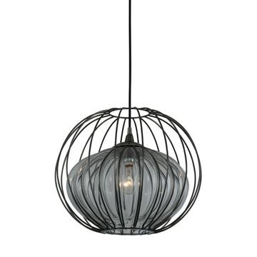 """Kalco Emilia 12"""" Outdoor Hanging Light in Chemical Stainless Steel"""