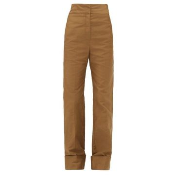 Lemaire - Turn-up Cuff Cotton-twill Trousers - Womens - Khaki
