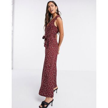 Liquorish sleeveless jumpsuit in burgundy bird print-Multi