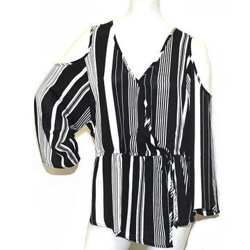 Masseys Women's Stripe Cold Shoulder Top in Black - 5X