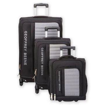 Geoffrey Beene Adventure 3-Piece Luggage Set in Black/Grey