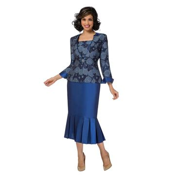 Giovanna Signature Women's 2-pc Sapphire Floral Brocade Skirt Suit with Pleats