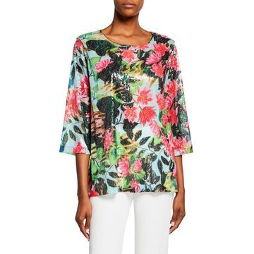 Lush Life Sequined Scoop-Neck 3/4-Sleeve Easy Tunic