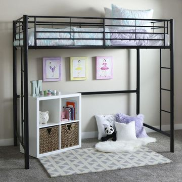 Walker Edison Black Metal Loft Bed - Twin