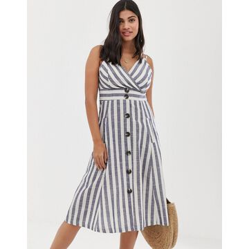 QED London button front midi dress in natural stripe