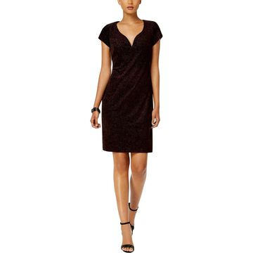Connected Apparel Womens Metallic Shift Party Dress