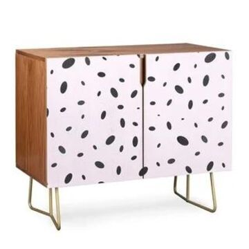 Deny Designs Bubble Pattern on Pink Credenza (Birch or Walnut, 2 Leg Options)