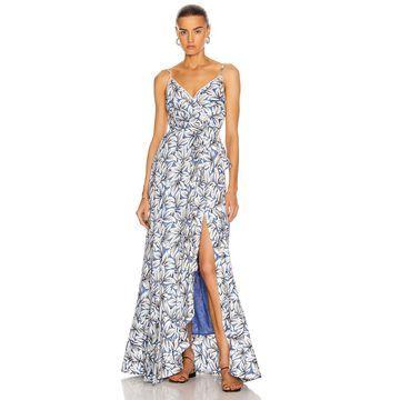 JONATHAN SIMKHAI Ava Wrap Gown in Pacific Print | FWRD