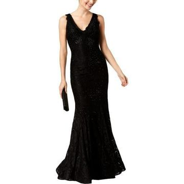 Betsy & Adam Womens Lace Embellished Formal Dress