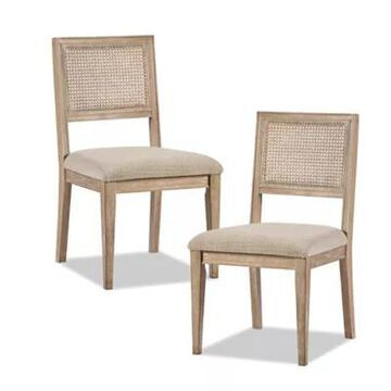 INK+IVY Rubberwood Upholstered Kelly Dining Chairs in Light Brown (Set of 2)