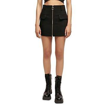 Maje Jeli Zip Front Mini Skirt
