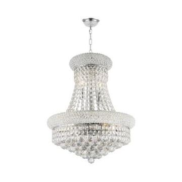 Worldwide Lighting Empire 8-Light Chrome Finish and Clear Crystal Chandelier