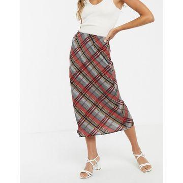 Y.A.S bias cut check midi skirt