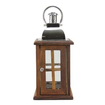 """18"""" Modern Sheesham Wood Candle Lantern with Metal Handle By Northlight in Silver 