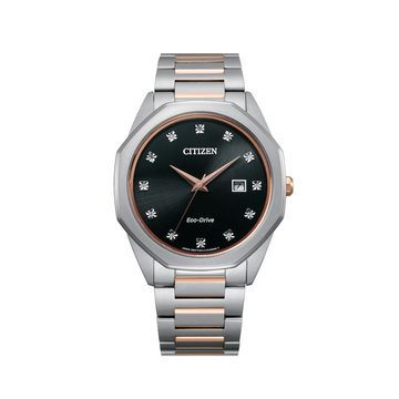 Men's Citizen Eco-Drive Corso Diamond Accent Two-Tone Watch with Black Dial (Model: BM7496-56G)