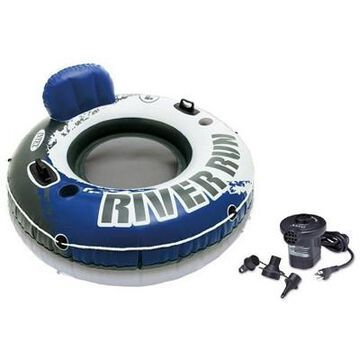 Intex River Run I Inflatable Floating Tube Raft Boat Set & Quick Fill Air Pump