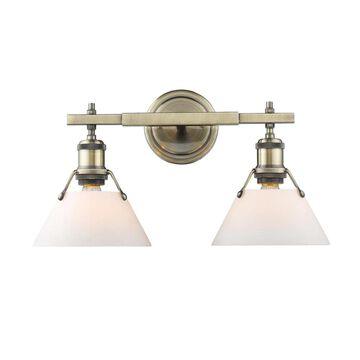 Golden Lighting Orwell 2-Light Gold Industrial Vanity Light   3306-BA2 AB-OP