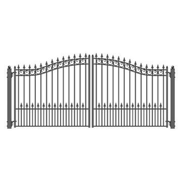 Aleko Driveway Gates Iron Wrought Steel Prague Style, 14'