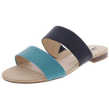 Karl Lagerfeld Paris Womens Alkali Leather Colorblock Slide Sandals