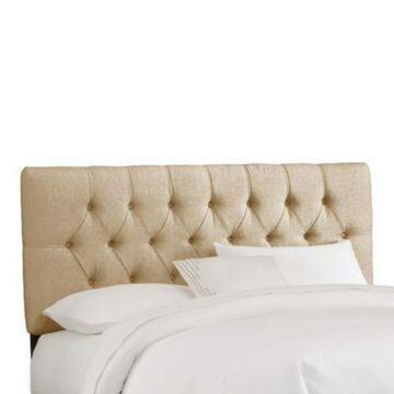 Skyline Furniture King Tufted Headboard in Linen Sandstone