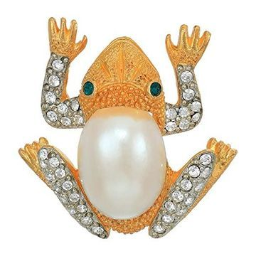 Kenneth Jay Lane 2X1.5 Frog Pin (Gold/Crystals/Emerald/Pearl) Brooches Pins