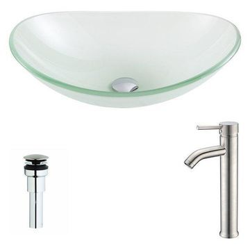 ANZZI Forza Series Deco-Glass Vessel Sink with Fann Faucet