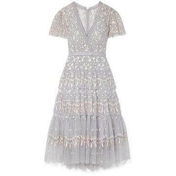 Needle & Thread - Angelica Tiered Embroidered Tulle Midi Dress - Sky blue