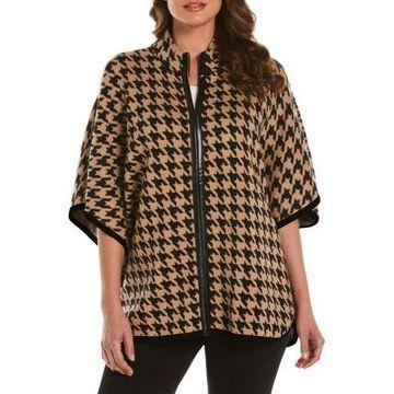Rafaella Women's Petite Houndstooth Poncho Sweater - -