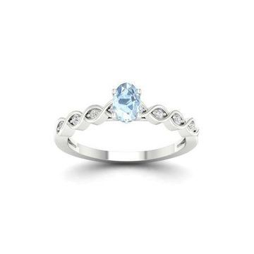 Imperial Gemstone 10K White Gold Oval Aquamarine 1/10 CT TW Diamond Fashion Ring