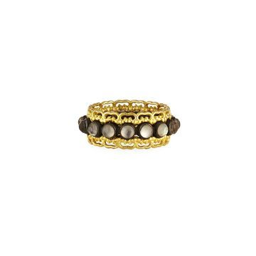 Old World Blackened 18K Band Ring with Faceted Doublets, Size 7