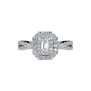 Modern Bride Signature 1 CT. T.W. Diamond 14K White Gold Emerald-Cut Bridal Ring