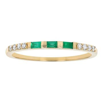 14K Yellow Gold 1/5ct. Emerald and Diamonds Anniversary Band Ring by Beverly Hills Charm