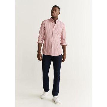 MANGO MAN - Slim fit striped pocket shirt red - XS - Men