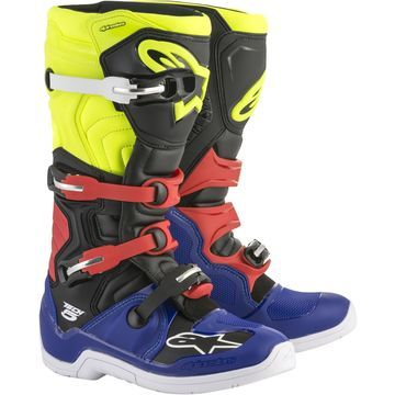 Alpinestars Tech 5 Boots Blue/Black/Yellow Sz 6