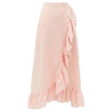 Lisa Marie Fernandez - Ruffled Metallic Linen-blend Gauze Wrap Skirt - Womens - Pink