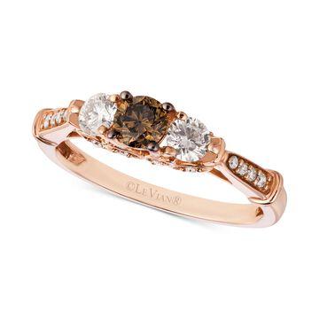 Chocolatier& Diamond Trinity-Style Ring (5/8 ct. t.w.) in 14k Rose Gold