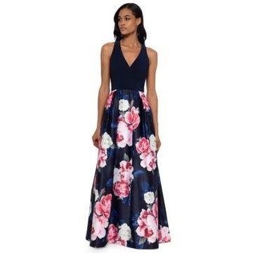 Xscape Long Floral-Skirt Gown