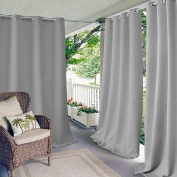 Elrene Connor 84-Inch Indoor/Outdoor Grommet Top Window Curtain Panel in Grey
