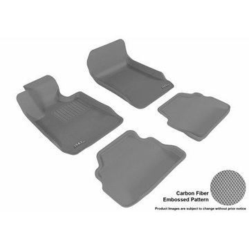 3D MAXpider Stylish Custom Fit All Weather Floor Mats for 2007-2013 BMW 3 Series Coupe (E92) Front & Second Row in Gray with Carbon Fiber Look
